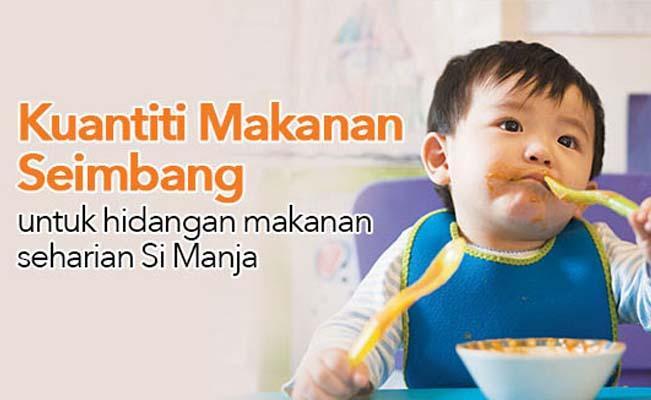 Kuantiti Makanan Seimbang untuk hidangan makanan seharian Si Manja